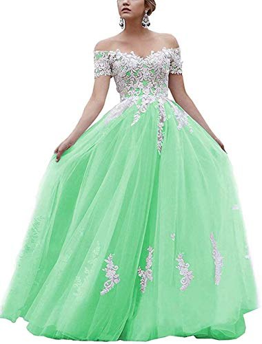 iluckin Women's Off Shoulder Wedding Dress Lace Sweetheart Formal Prom Evening Gown for Bride Long Mint