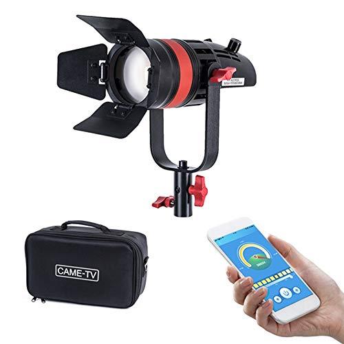 CAME-TV Boltzen Q-55S COB 55W Fresnel Focusable Led Video Light,Bi-Color 3200K-5600K CRI96+ TLCI97+ APP Control Lighting Effects Adjustable Frequency W/Filter Set Removable Barn-Door Carry Bag