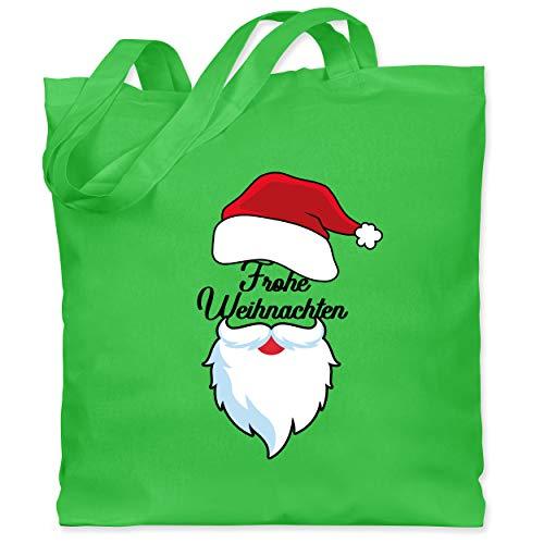 Weihnachten & Silvester - Frohe Weihnachten mir Mütze und Bart - Unisize - Hellgrün - Statement - WM101 - Stoffbeutel aus Baumwolle Jutebeutel lange Henkel