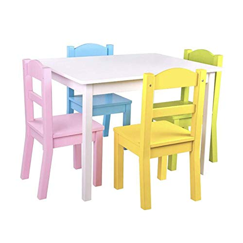 Zhenwo 5 Pieces Children's Furniture Set with 4 Chairs/Children's Furniture Set Pine/Children's Chair & Table/Wooden/Seating Set for Children/Children/Nursery/Preschooler,1
