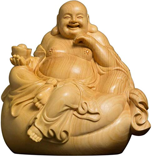 WPXBF Estatuas Boj 8Cm Escultura Maitreya Talla de Madera Estatua de Buda riendo Decoración del hogar
