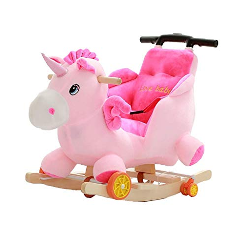 YUEZPKF Schön Schaukelstuhl Rocking Horse Holz, Plüsch Rocking Horse Spielzeug, Einhorn Rocking Horse für Baby 13 Jahre, Holz Rocking Hor (Color : B)