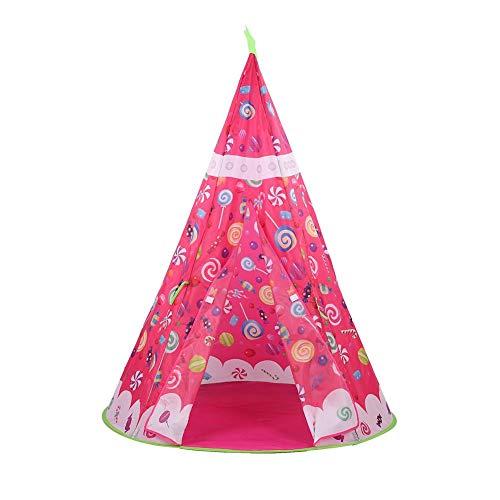 01 Casa de Juego Plegable portátil, Tienda de Juegos de Juguetes de Unicornio, Recuerdos de Fiesta y Regalos para Interiores y Exteriores(Candy Indian Tent)