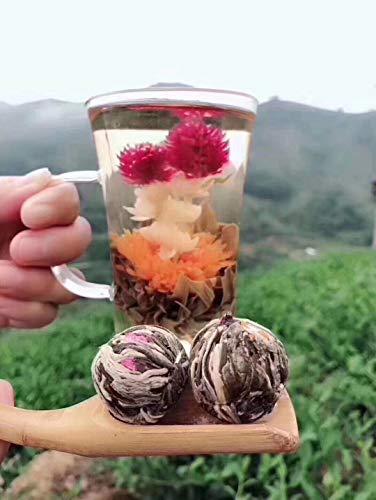 Bacilio 中国茶 花茶 工芸茶 水中花籠 ジャスミン 花咲く芸術品 双竜プレイビーズ 双龙戏珠茶 (14個)