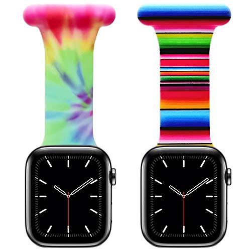 Vozehui Kompatibel mit Apple Watch Armband 38/40mm, 42/44mm, für Krankenschwestern, Hebammen, Ärzte, Sanitäter, Wanderer, gemusterter, weicher Silikonstiftanhänger für die iWatch Serie SE/6/5/4/3/2/1