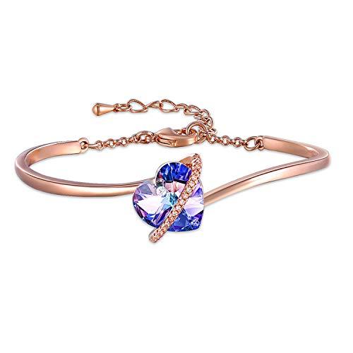 7 Pulgadas Pulseras de Corazón Azul Púrpura Ajustable para Mujer Brazalete Pulseras de Oro Rosa con Cristales de Swarovski Pulsera de Mamá Regalos de Cumpleaños para Mujer Mamá (C-rose gold)