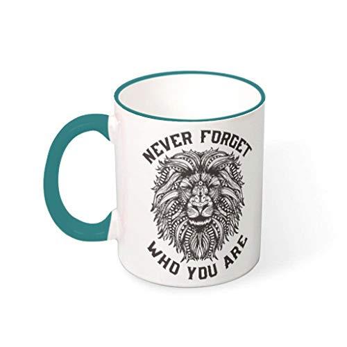 IOVEQG Lion Never Forget Who You Are - Taza de café de cerámica con asa para hombre, mujer, jefes y compañeros de trabajo, 330 ml