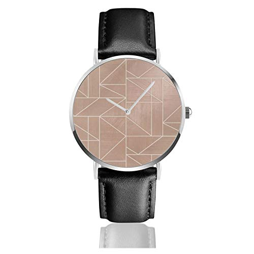 Reloj de cuero Alexis Geométrico Oro Rosa Unisex Clásico Casual Moda Reloj de Cuarzo Reloj de Acero Inoxidable con Correa de Cuero