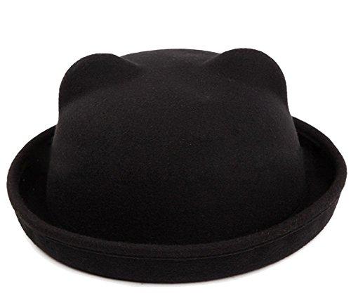 Butterme Mujeres Lady Girls Vintage Cute Cat Ears Moda Bowler Derby Hat Cap(Negro)