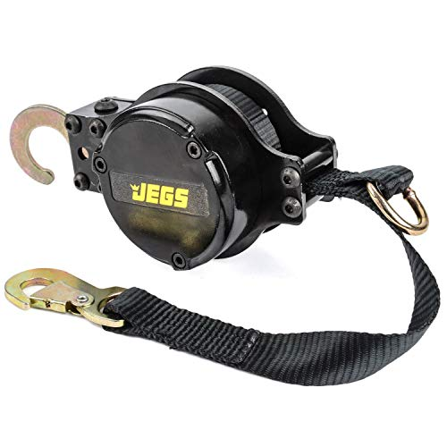 JEGS Retractable Tow Strap   4,000 LBS Capacity   Heavy Duty Black Nylon Webbing   Zinc Plated Steel Hooks   Black Aluminum Housing   15 Foot Strap With Safety Snap