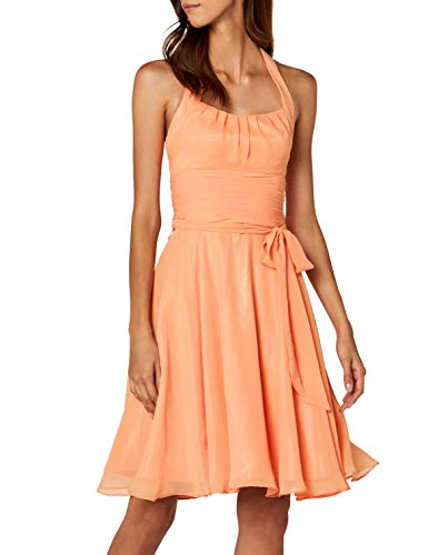 Astrapahl Damen Cocktail Kleid Neckholder, Knielang, Einfarbig, Gr. 36, Orange (Mango)