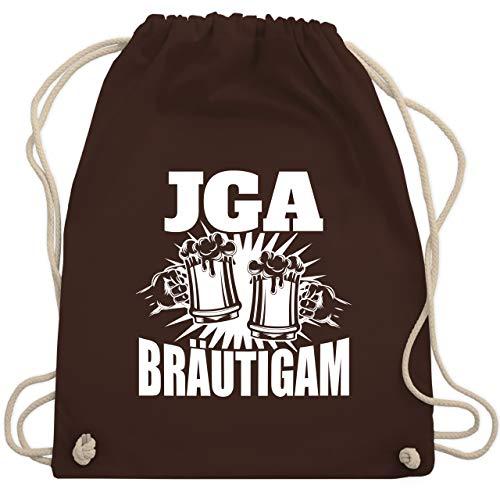 Shirtracer JGA Junggesellenabschied Männer - JGA Bier anstoßen - Bräutigam - Unisize - Braun - Statement - WM110 - Turnbeutel und Stoffbeutel aus Baumwolle