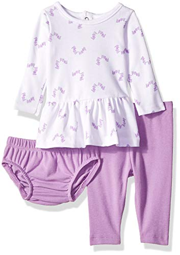 Hanes Baby Flexy Long Sleeve Tunic with Diaper Cover and Legging Set, Purple Fun, 12-18 Months