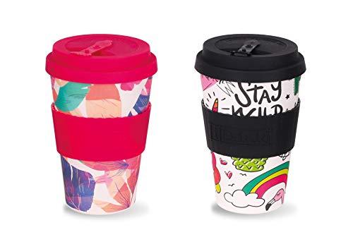 i-Drink Set de 2 Tazas de Bambú 435 ML para café o té para Llevar Hechas de bambú   Reutilizables, Materiales Naturales  Seguro para Alimentos, Apto para lavavajillas. Libre de BPA. (Flores/Unicornio)