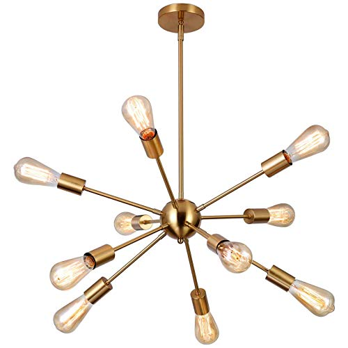 Glighone Sputnik Iluminación Colgante 10 Luces Lámpara de Techo Oro Moderna Iluminación Industrial Vintage Colgante para comedor Cocina Sala de estar Dormitorio, Base E27 (Sin Bombilla)