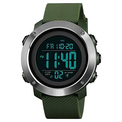 FeiWen Simple Relojes de Mujer Deportivo Digitales Relojes 50M Impermeable Outdoor Militar LED Electrónica Reloj de Pulsera Multifuncional Doble Tiempo Alarma Cuenta Regresiva (Verde 2)