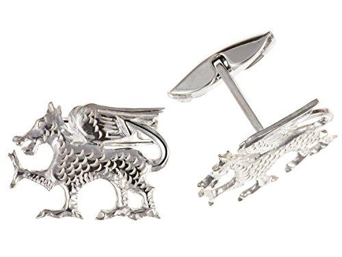 Pays de Galles/gallois Dragon Boutons de manchette – Argent Sterling 925 – Livré dans une boîte cadeau gratuit ou sac cadeau