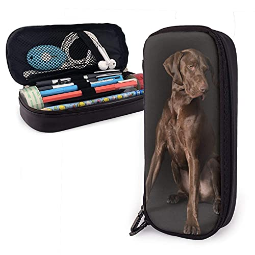XCNGG Kosmetiktasche mit Federmäppchen PU Pencil Case,Student Stationery Office Storage Pouch Bag,Coin Pouch Cosmetic Bag - German Dogs