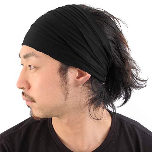 Casualbox Homme Tête Couverture Bande Bandana Étiré Cheveux Style Japonais Noir M