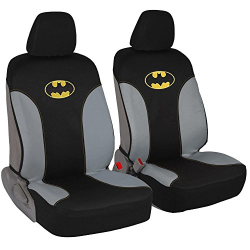 Batman Car Seat Covers - 100% Waterproof Front Pair Gray Black Fit Cover - Side Airbag Safe Protection for Car SUV Van Truck