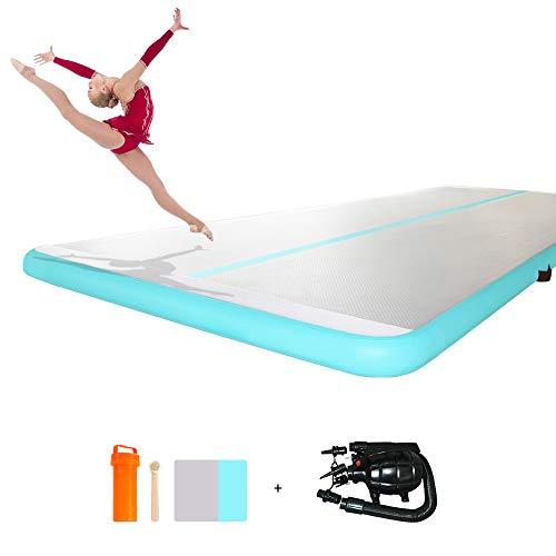 ibigbean Inflatable Tumbling Air Floor Gym Mats-White Side(27'L x 5.9'W x 4''H)