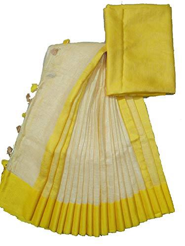 SILK CITY SHG Women's Jivika Styles Cotton Slub Saree with Contrast Blouse (Cream, Yellow)