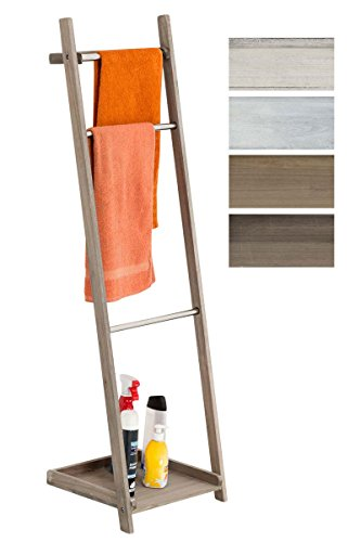 Toallero De Pie Kyoto I Toallero De Baño con 3 Barras de Metal & Estructura De Madera I Toallero En Estilo Rústico I Color:, Color:marrón Claro