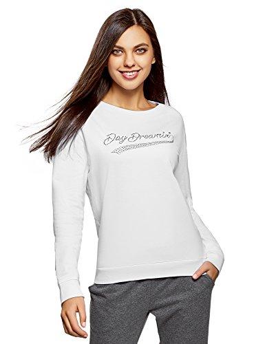 oodji Ultra Damen Baumwoll-Sweatshirt mit Strass-Steinen, Weiß, DE 36 / EU 38 / S