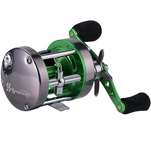 Sougayilang Rover Round Baitcasting Reel Inshore Saltwater Fishing, Conventional Reel-Reinforced Metal Body for Catfish,Salmon/Steelhead, Striper Bass Fishing Reel
