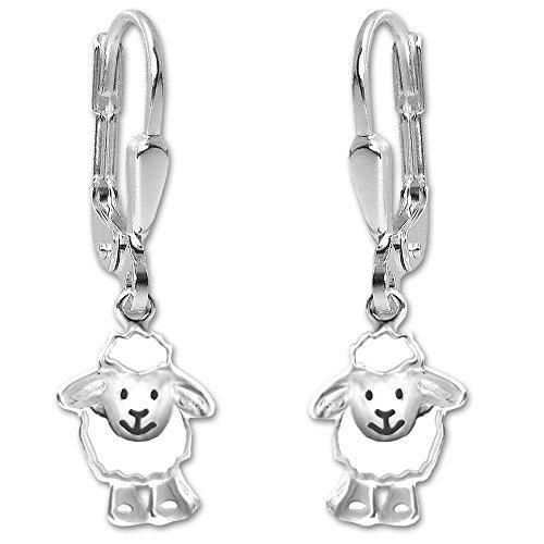 Pendientes de plata de oveja clever joyas divertido brillante blanco lacado de plata de 925