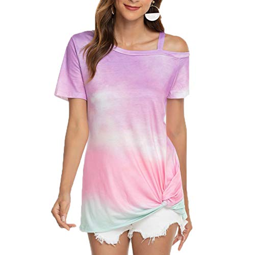2021 Nueva Camiseta Estampada De Color Degradado con Hombros Inclinados Y Dobladillo Torcido De Manga Corta para Mujer