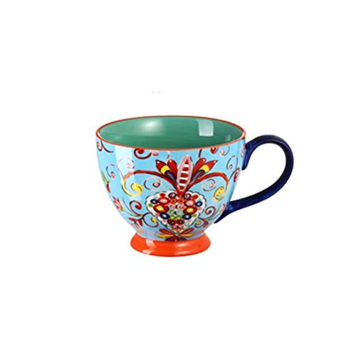 JJIU Leche Azul del Café De La Pintura del Arte Raro, Taza De Té De Cerámica del Hueso De Cerámica, Taza Superior De La Porcelana