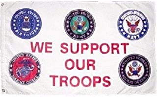 Trade Winds 3x5 ft Military We Support Our Troops 5 Branches Service Nylon Poly Banner Flag Fade Resistant Premium