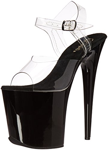 Pleaser Women's Flam808/c/b Platform Sandal, Clear/Black, 7 M US