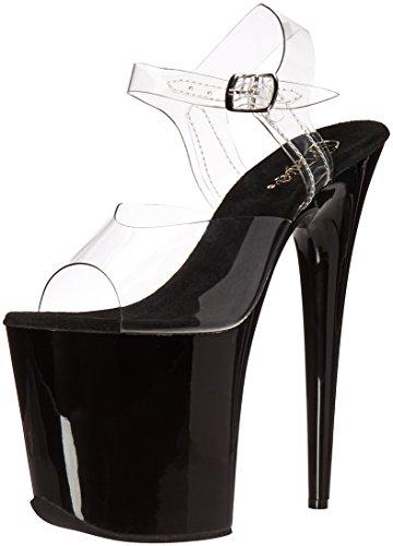 Pleaser Women's Flamingo-808 Platform Sandals, Transparent (Clr/Blk), 6 UK 39 EU