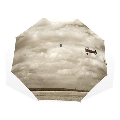 LASINSU Regenschirm,Flugzeug im dramatischen bewölkten Himmel Aviation Flyby Obsolete Composition Print,Faltbar Kompakt Sonnenschirm UV Schutz Winddicht Regenschirm