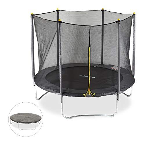 Relaxdays 3 TLG. Outdoor Trampolin Set, Gartentrampolin Ø 244 cm, bis 150 kg, Sicherheitsnetz 6...