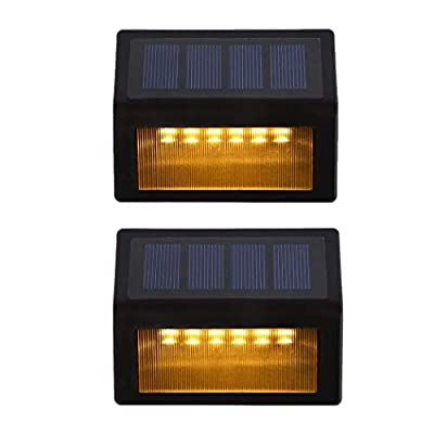 Solar Step Lights ?LED Solar Powered Step Lights Wireless Waterproof Outdoor Security Lamps Lighting for Steps Stairs Paths Patio Decks(Pack 6,Warm Yellow Light)