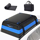 Vetoos 21 Cubic Feet Car Rooftop Cargo Carrier Bag, Soft Roof Top Luggage Bag for All Vechicles SUV with/Without Racks - Waterproof Zip, Anti-Tear 700D PVC, with Storage Bag & Anti-Slip Mat