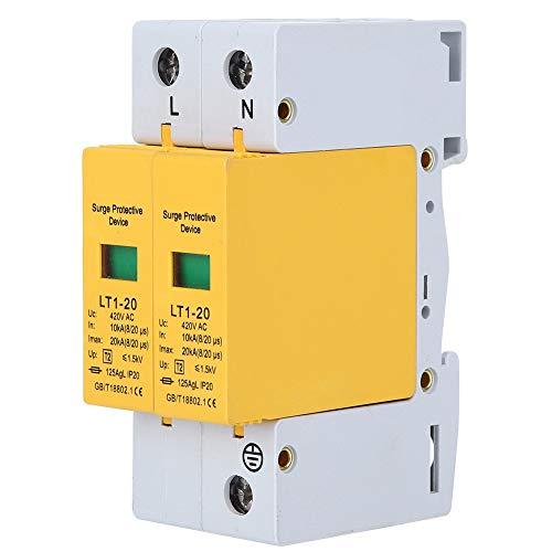 Protector Contra Sobretensiones, LT1‑20 ProteccióN Contra Sobretensiones DoméStica, Dispositivo de ProteccióN Contra Sobretensiones 2P, Pararrayos de Bajo Voltaje, Amarillo