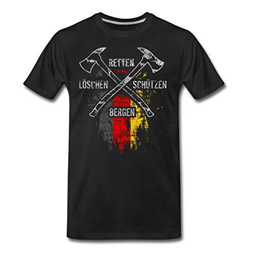 Feuerwehr Retten Löschen Bergen Schützen Männer Premium T-Shirt, 4XL, Schwarz