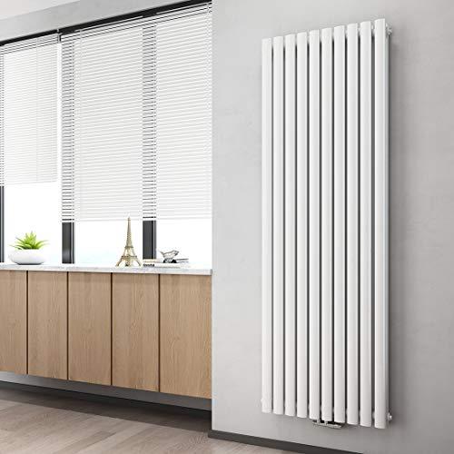 WELMAX Design Röhren Heizkörper Doppellagig Weiß 1800x600 mm Oval Vertikal Paneelheizkörper Mittelanschluss
