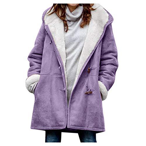 Whyeasy Invierno para Mujer Talla Grande Color sólido más Abrigo de Terciopelo Manga Larga botón de Cuerno Bolsillo con Capucha Abrigo más tamaño Chaqueta Cómodo(Púrpura,XXXXL)