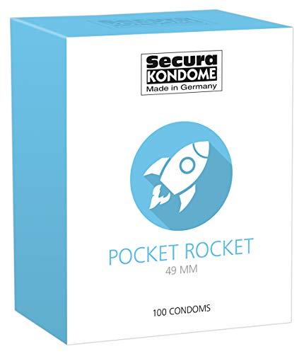Secura Pocket Rocket 100er Kondome - 100 sehr enge Präservative zur Verhütung für Männer, extra schmale Breite