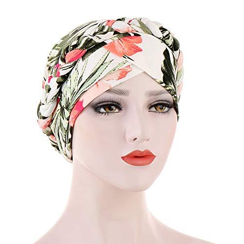 Milifeel Kopfbedeckung Mütze Kappe Blumendruck,Kopfbedeckung aus weichem Baumwollkopf,Frauen Muslimische Turban Mütze,Hijab-Chemo Mützen(12 Meige Leaves)
