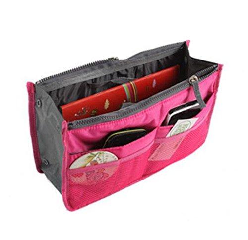 Liroyal Sac à main Sac pochette en sac Organisateur insérer Organisateur Tidy Voyage cosmétique de poche Maquillage Sac rose