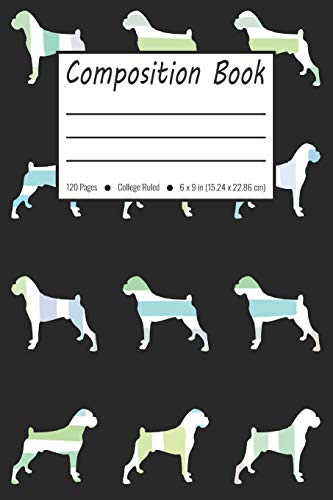 Composition Book: Boxer Dog Pattern College Ruled Pages (Exercise Book, Notebook)