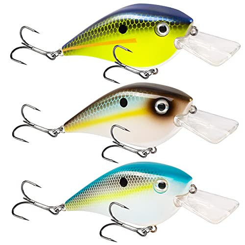 Basskiller 3pcs Square Bill Crankbait, Bass Fishing Lure, Floating Erratic Action Topwater Fishing Lures, Fishing Gear Trout Lure with Sharp Hooks for Shallow Water, Freshwater, Saltwater