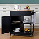 Glitzhome Kitchen Island on Wheels Portable Rolling Kitchen Cart with Storage, Lockable Wheels, Handle Rack Rubber Wood Top, Cabinet, Classic Black 34.45''H