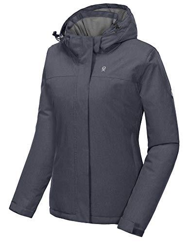 Little Donkey Andy Chaqueta de esquí impermeable para mujer con capucha desmontable - Womens Winter Ski Jacket with Hood, Moderno/ajustado, M, Negro Heather